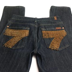 7 For All Mankind Black Straight Leg Jeans Size 25